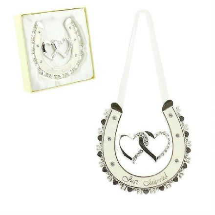 Silver Coloured Heart Just Married Good Luck Horseshoe